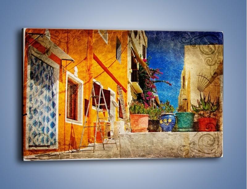 Obraz na płótnie – Greckie domki w stylu vintage – jednoczęściowy prostokątny poziomy AM190