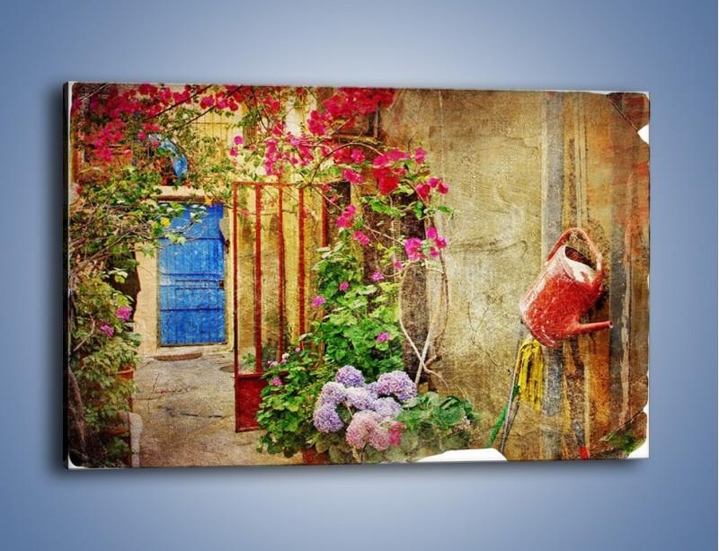 Obraz na płótnie – Mała uliczka w Grecji vintage – jednoczęściowy prostokątny poziomy AM191