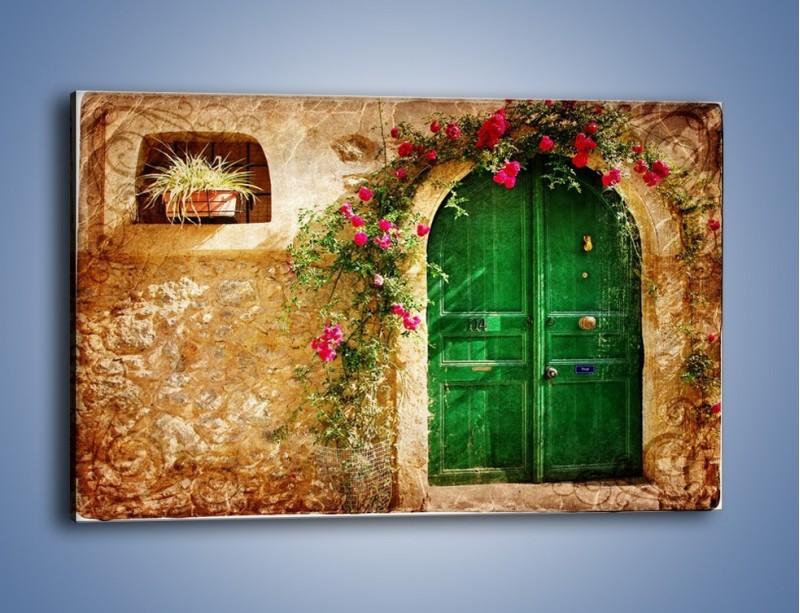 Obraz na płótnie – Drzwi w greckim domu vintage – jednoczęściowy prostokątny poziomy AM192