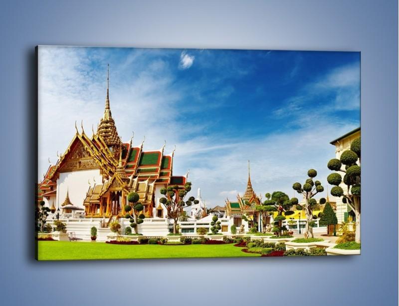Obraz na płótnie – Tajska architektura pod błękitnym niebem – jednoczęściowy prostokątny poziomy AM197