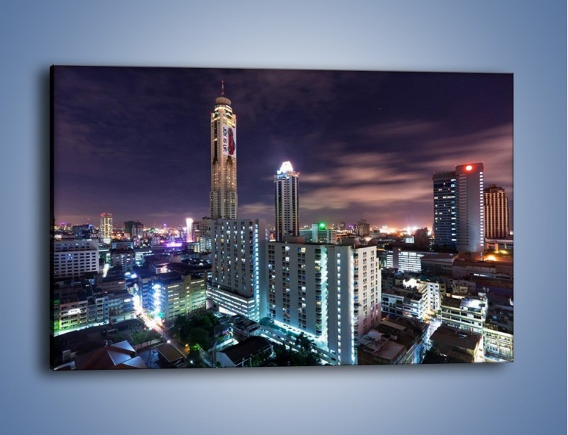 Obraz na płótnie – Duże miasto nocą – jednoczęściowy prostokątny poziomy AM202