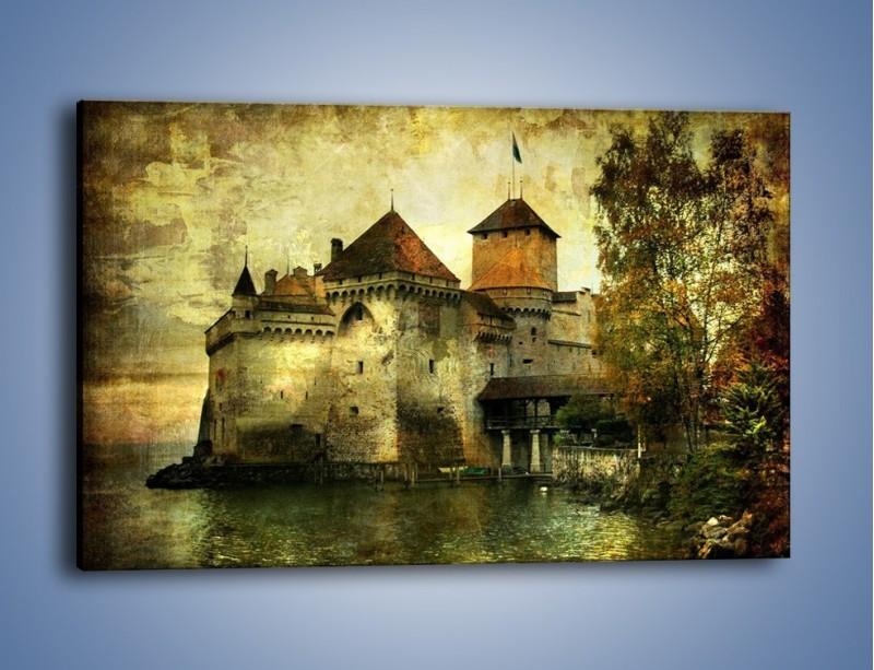 Obraz na płótnie – Średniowieczny zamek w stylu vintage – jednoczęściowy prostokątny poziomy AM233