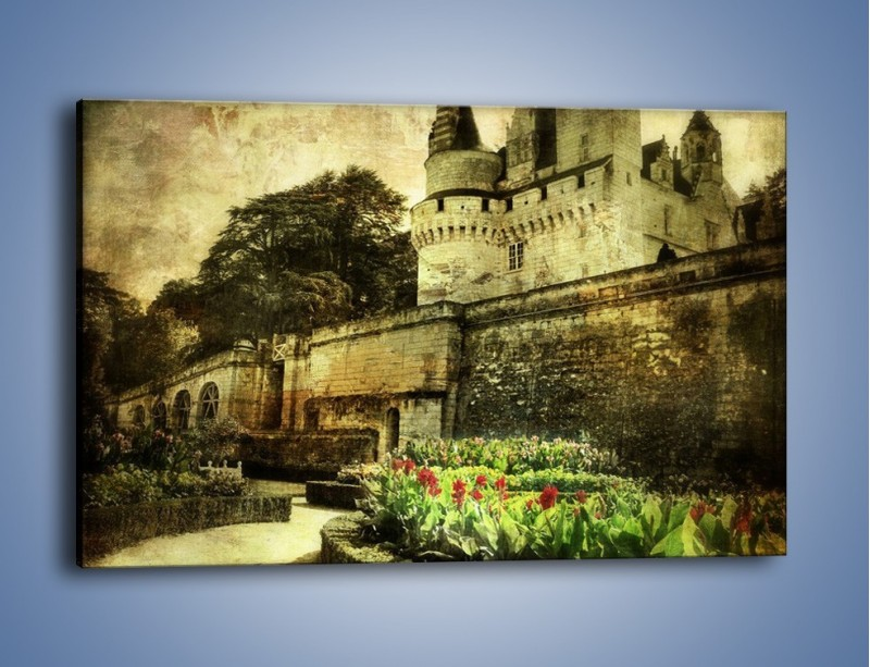 Obraz na płótnie – Zamek w stylu vintage – jednoczęściowy prostokątny poziomy AM234
