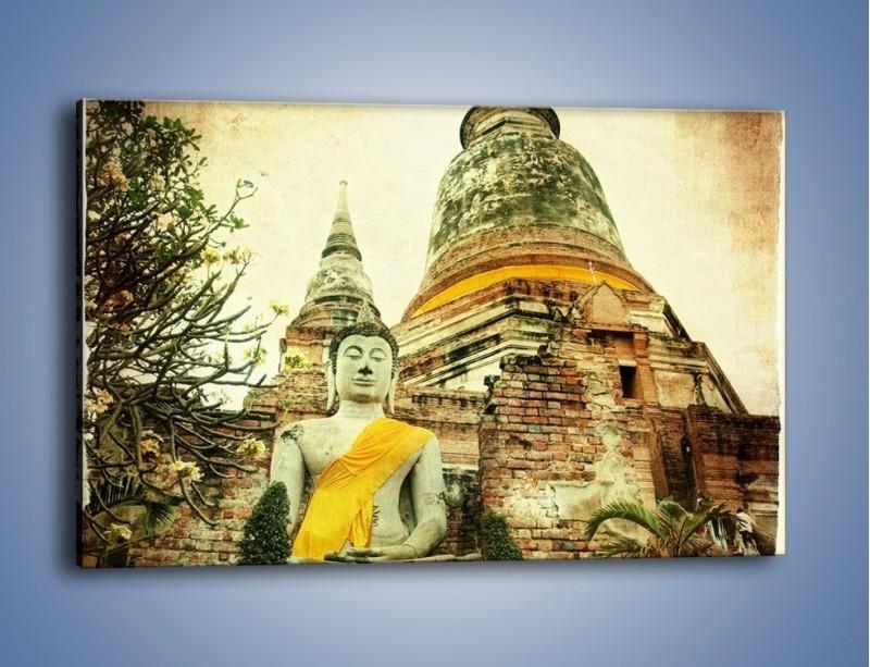 Obraz na płótnie – Tybetańska architektura w stylu vintage – jednoczęściowy prostokątny poziomy AM247