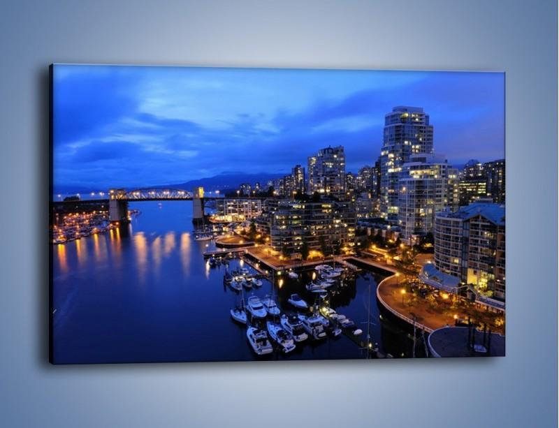 Obraz na płótnie – Port na jachty w mieście nocą – jednoczęściowy prostokątny poziomy AM250