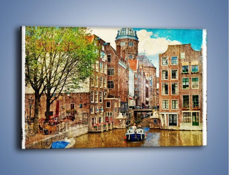 Obraz na płótnie – Kanał w Amsterdamie vintage – jednoczęściowy prostokątny poziomy AM259