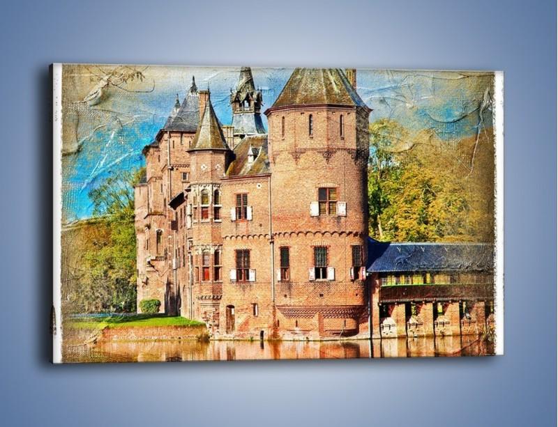 Obraz na płótnie – Zamek nad wodą w stylu vintage – jednoczęściowy prostokątny poziomy AM262