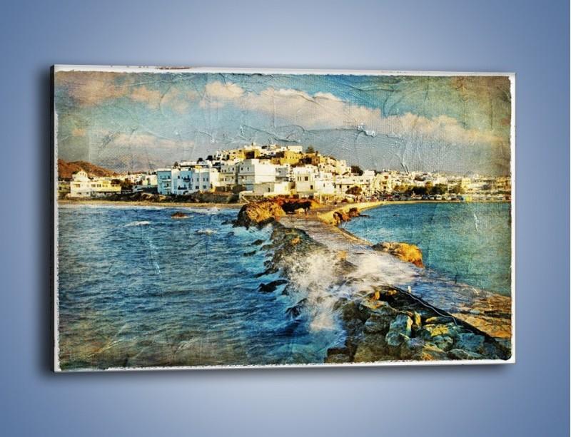 Obraz na płótnie – Grecka dróżka przez wodę vintage – jednoczęściowy prostokątny poziomy AM268