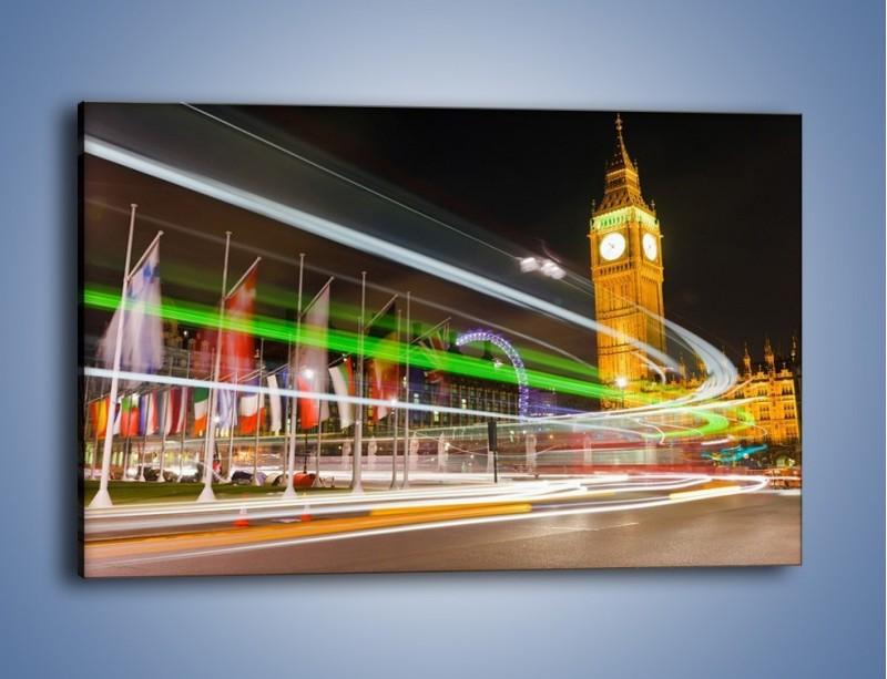 Obraz na płótnie – Światła samochodów na tle Big Bena – jednoczęściowy prostokątny poziomy AM283