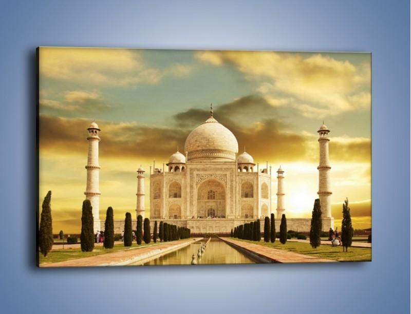 Obraz na płótnie – Tadź Mahal o zachodzie słońca – jednoczęściowy prostokątny poziomy AM285