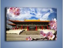 Obraz na płótnie – Azjatycka architektura z kwiatami – jednoczęściowy prostokątny poziomy AM298