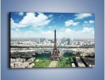 Obraz na płótnie – Chmury nad Wieżą Eiffla – jednoczęściowy prostokątny poziomy AM302