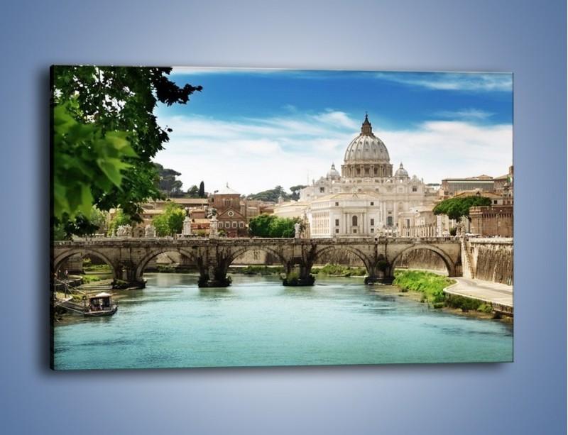 Obraz na płótnie – Rzeka Tyber na tle bazyliki – jednoczęściowy prostokątny poziomy AM303