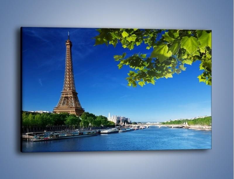 Obraz na płótnie – Wieża Eiffla w piękny dzień – jednoczęściowy prostokątny poziomy AM304