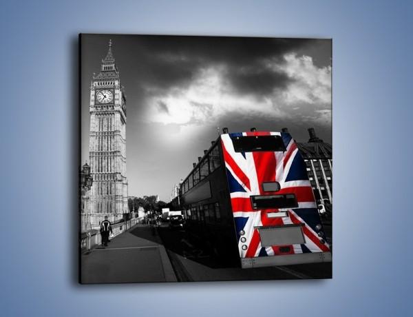 Obraz na płótnie – Big Ben i autobus z flagą UK – jednoczęściowy kwadratowy AM396