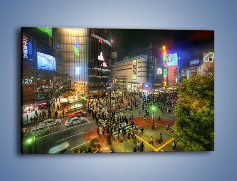 Obraz na płótnie – Zatłoczone ulice Toyko nocą – jednoczęściowy prostokątny poziomy AM333