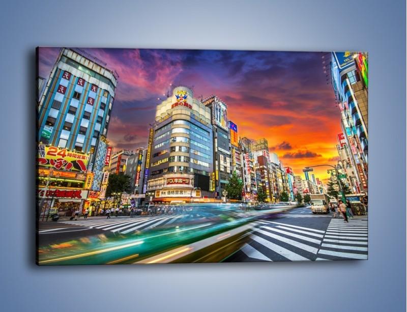 Obraz na płótnie – Tokyo na tle kolorowego nieba – jednoczęściowy prostokątny poziomy AM336