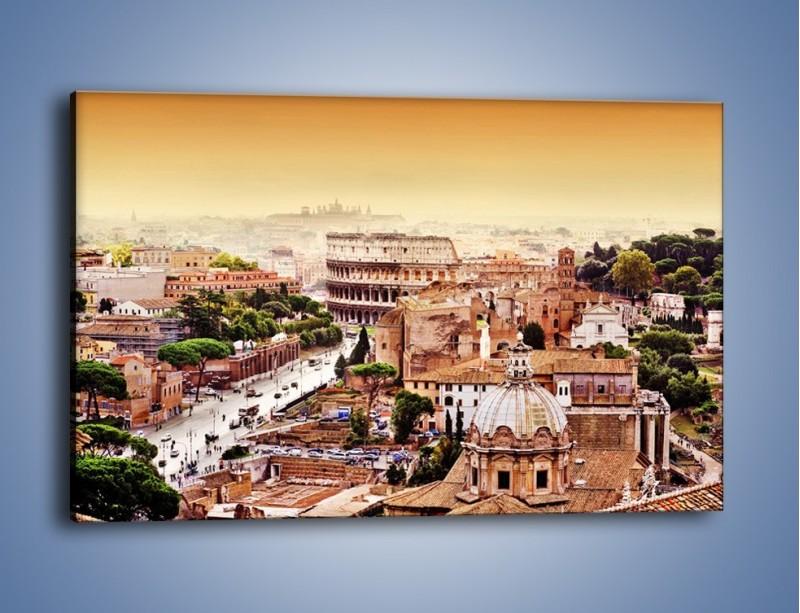 Obraz na płótnie – Panorama Rzymu – jednoczęściowy prostokątny poziomy AM338
