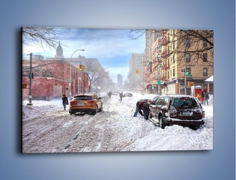 Obraz na płótnie – Zaśnieżone ulice miasta – jednoczęściowy prostokątny poziomy AM342