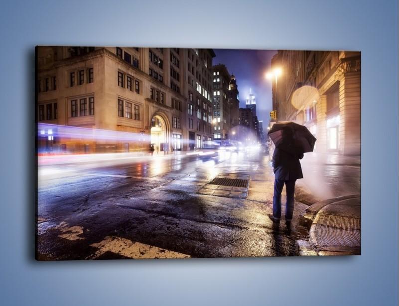 Obraz na płótnie – Deszczowa noc w Nowym Jorku – jednoczęściowy prostokątny poziomy AM343