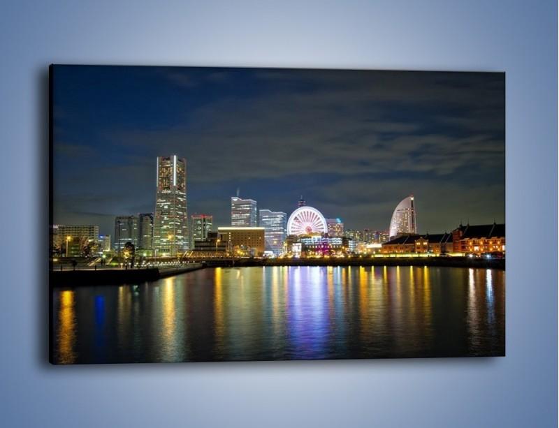 Obraz na płótnie – Yokohama nocą – jednoczęściowy prostokątny poziomy AM353