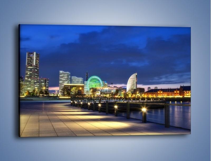 Obraz na płótnie – Rozświetlona Yokohama w nocy – jednoczęściowy prostokątny poziomy AM355