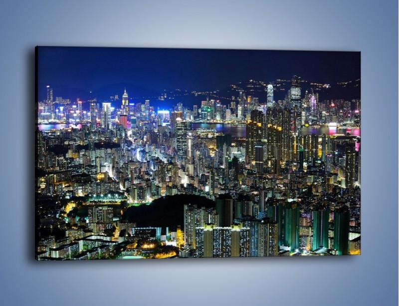 Obraz na płótnie – Drapacze chmur w Hong Kongu – jednoczęściowy prostokątny poziomy AM369