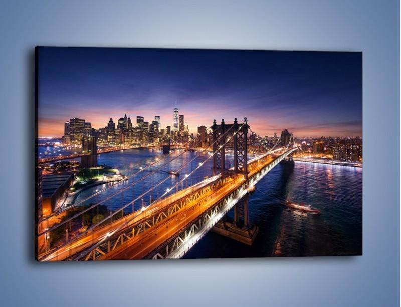 Obraz na płótnie – Zachodzące słońce nad Manhattanem – jednoczęściowy prostokątny poziomy AM377