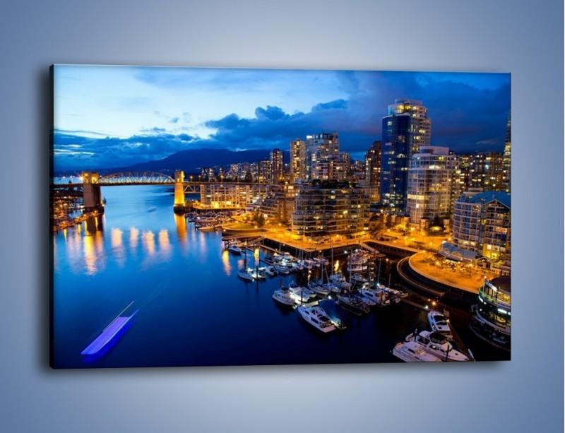Obraz na płótnie – Zapadająca noc nad Vancouver – jednoczęściowy prostokątny poziomy AM384