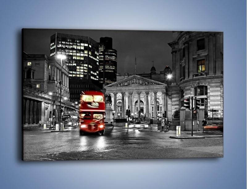 Obraz na płótnie – Czerwony autobus w Londynie – jednoczęściowy prostokątny poziomy AM395