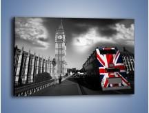 Obraz na płótnie – Big Ben i autobus z flagą UK – jednoczęściowy prostokątny poziomy AM396
