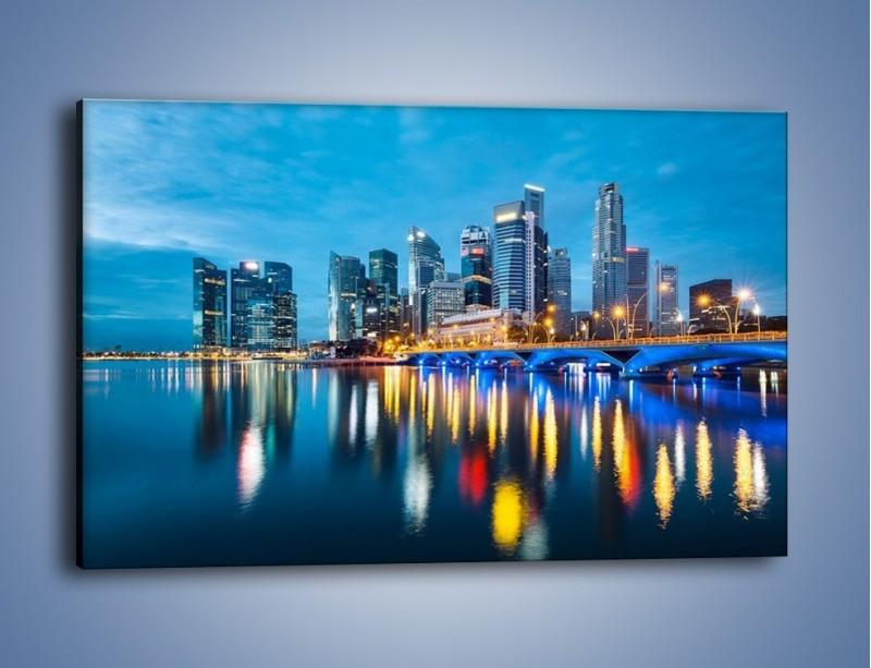 Obraz na płótnie – Kolorowe światła Singapuru – jednoczęściowy prostokątny poziomy AM408