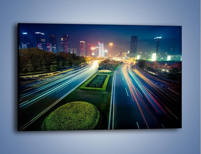 Obraz na płótnie – Uliczne światła Szanghaju – jednoczęściowy prostokątny poziomy AM409