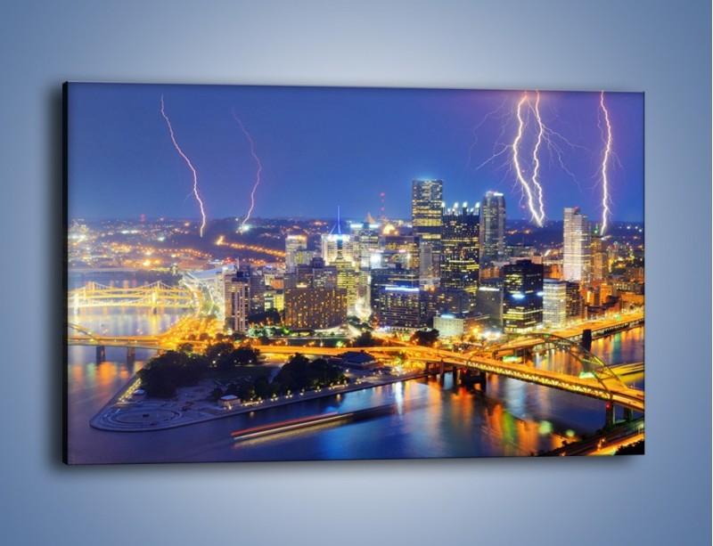 Obraz na płótnie – Burza nad Pittsburgiem – jednoczęściowy prostokątny poziomy AM410