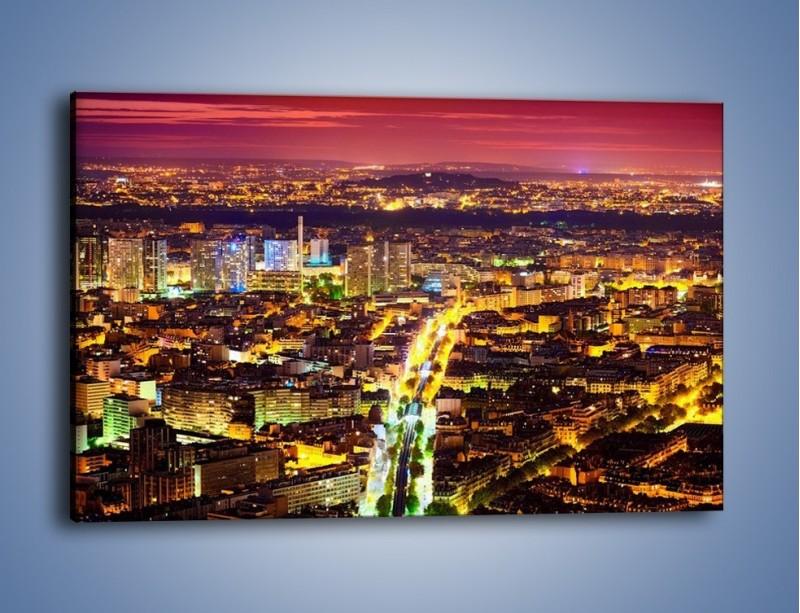Obraz na płótnie – Kolory Paryża nocą – jednoczęściowy prostokątny poziomy AM419