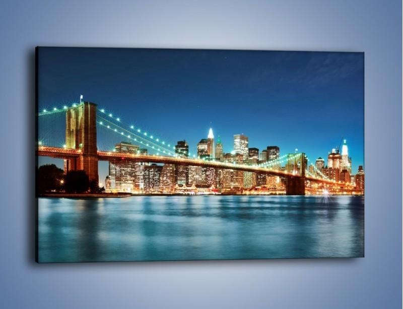 Obraz na płótnie – Most Brookliński na tle Nowego Jorku – jednoczęściowy prostokątny poziomy AM428