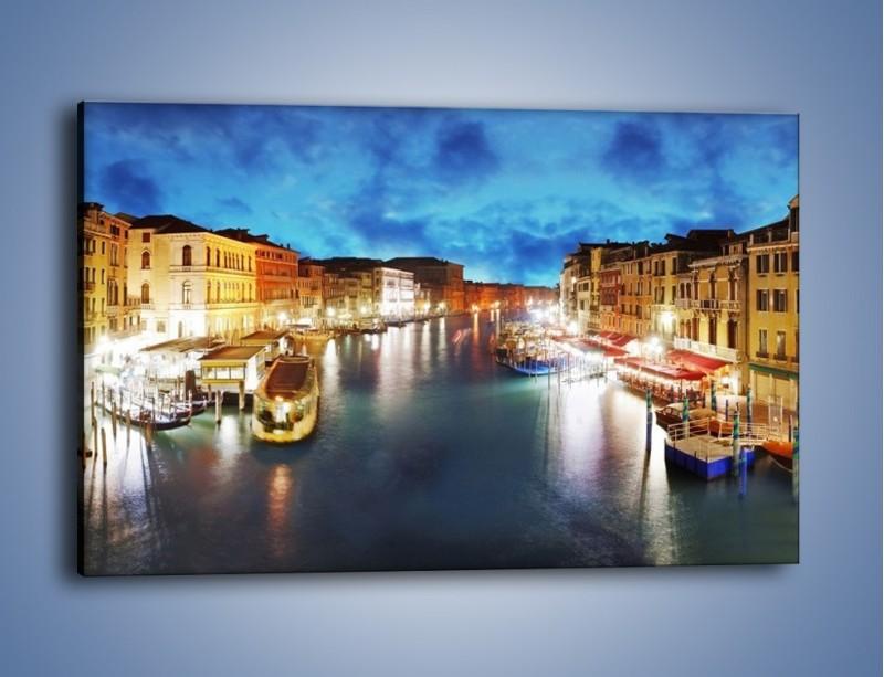 Obraz na płótnie – Światła Wenecji po zmroku – jednoczęściowy prostokątny poziomy AM430