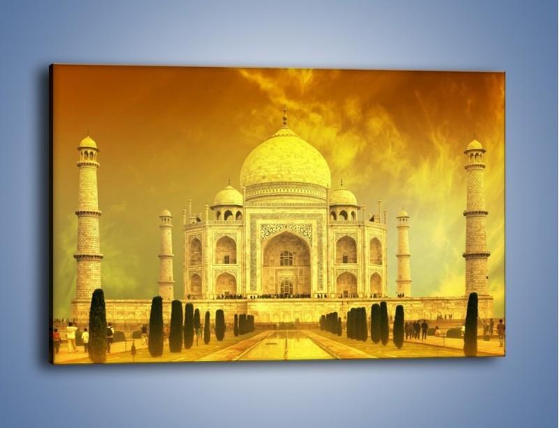 Obraz na płótnie – Tadź Mahal w żółtym kolorze – jednoczęściowy prostokątny poziomy AM465