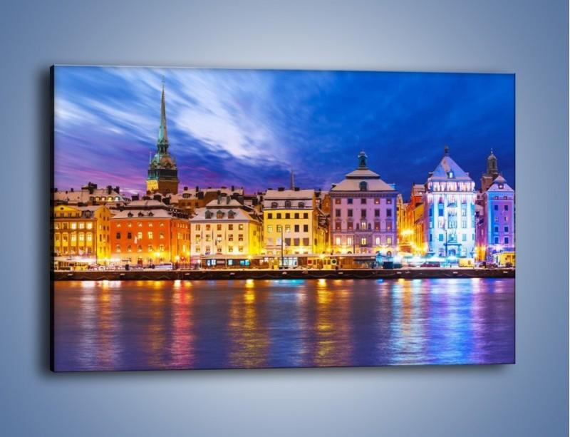 Obraz na płótnie – Sztokholm w zimowej scenerii – jednoczęściowy prostokątny poziomy AM468