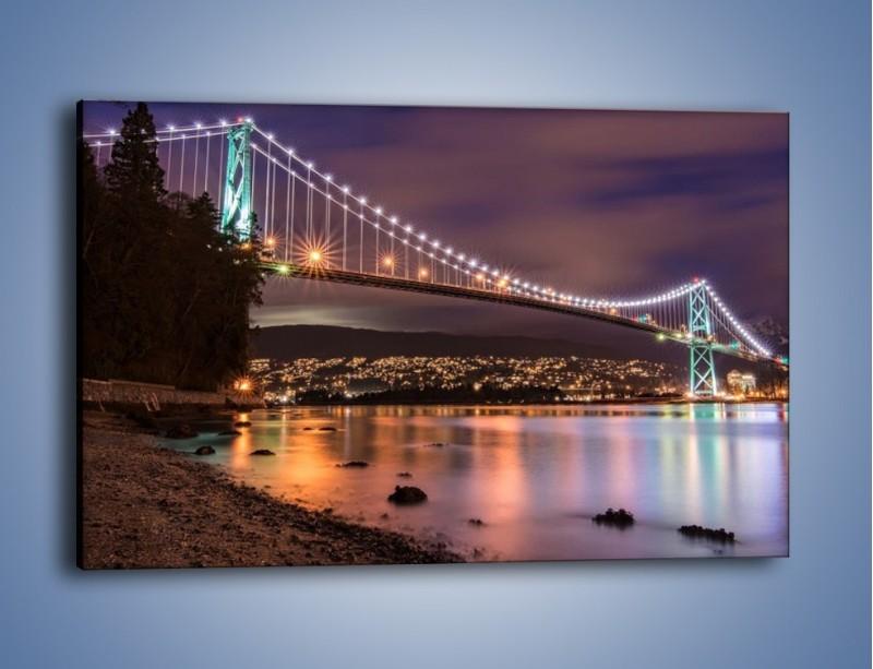 Obraz na płótnie – Most Lions Gate w Vancouver nocą – jednoczęściowy prostokątny poziomy AM472