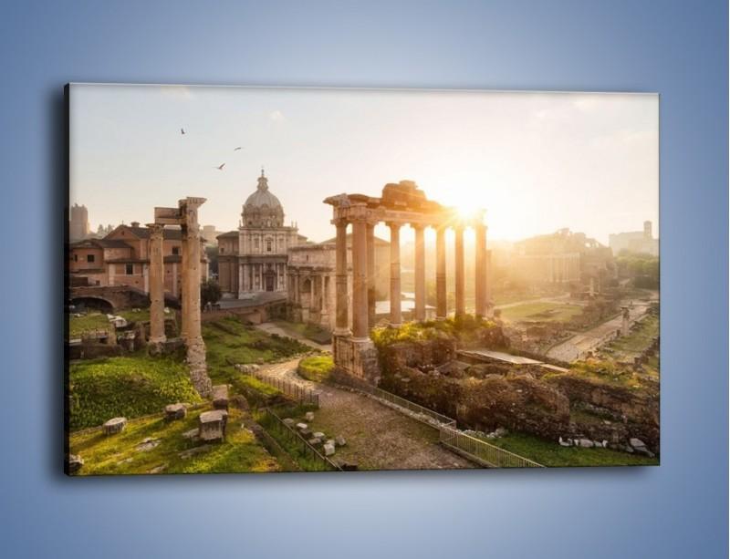 Obraz na płótnie – Rzymskie ruiny o zachodzie słońca – jednoczęściowy prostokątny poziomy AM480
