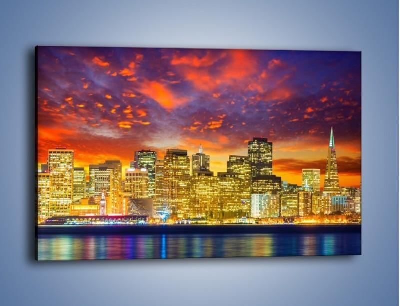 Obraz na płótnie – Wieżowce San Francisco nad wodą – jednoczęściowy prostokątny poziomy AM481