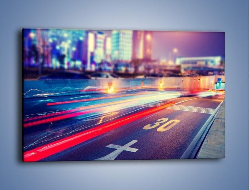 Obraz na płótnie – Ulica w ruchu świateł samochodowych – jednoczęściowy prostokątny poziomy AM482