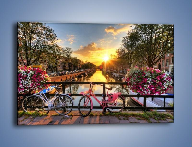 Obraz na płótnie – Zachód słońca nad amsterdamskim kanałem – jednoczęściowy prostokątny poziomy AM483