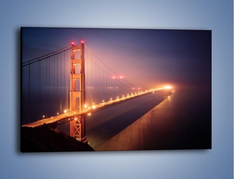 Obraz na płótnie – Most Golden Gate w nocnej mgle – jednoczęściowy prostokątny poziomy AM490