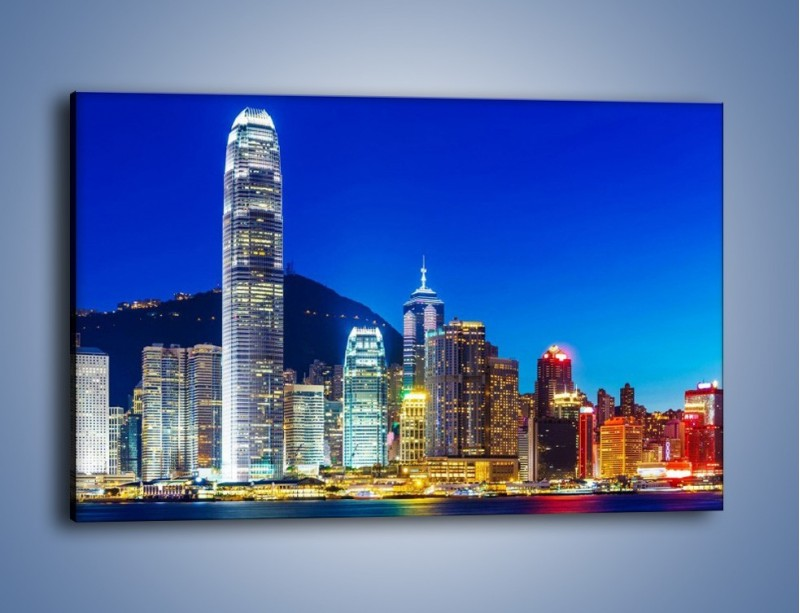 Obraz na płótnie – Oświetlone wieżowce Hong Kongu – jednoczęściowy prostokątny poziomy AM498