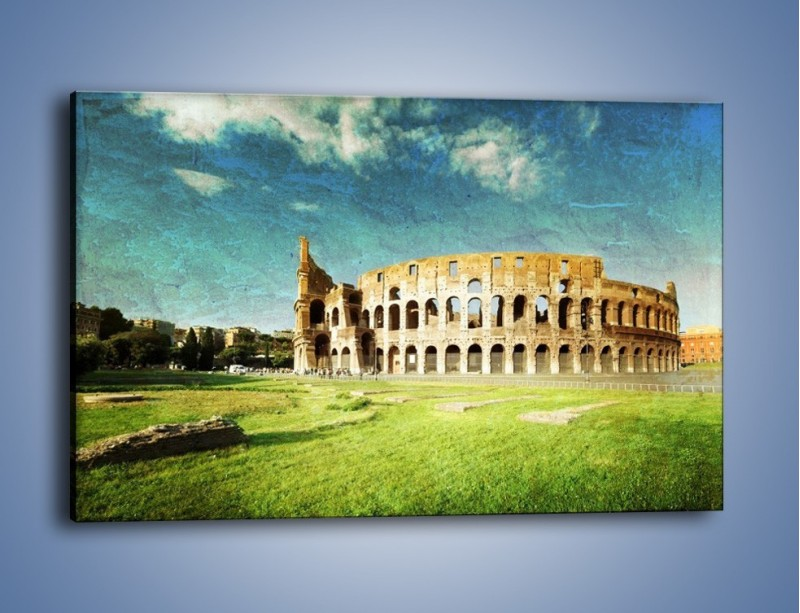 Obraz na płótnie – Koloseum w stylu vintage – jednoczęściowy prostokątny poziomy AM503