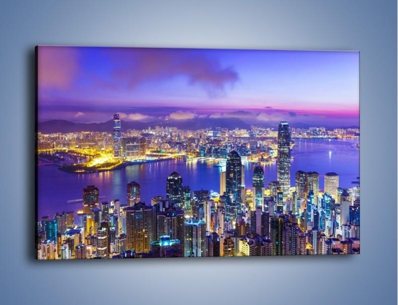 Obraz na płótnie – Wieczorna panorama Hong Kongu – jednoczęściowy prostokątny poziomy AM505