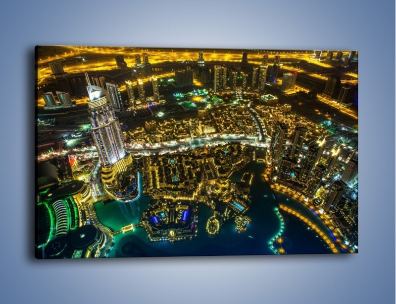 Obraz na płótnie – Dubaj nocą z lotu ptaka – jednoczęściowy prostokątny poziomy AM507