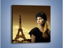 Obraz na płótnie – Czarna dama w paryżu – jednoczęściowy kwadratowy L114